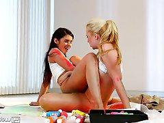 Blonde, Cunnilingus, Lesbian, Small Tits
