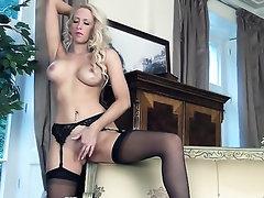 Babe, Big Tits, Masturbation, Panties, Stockings